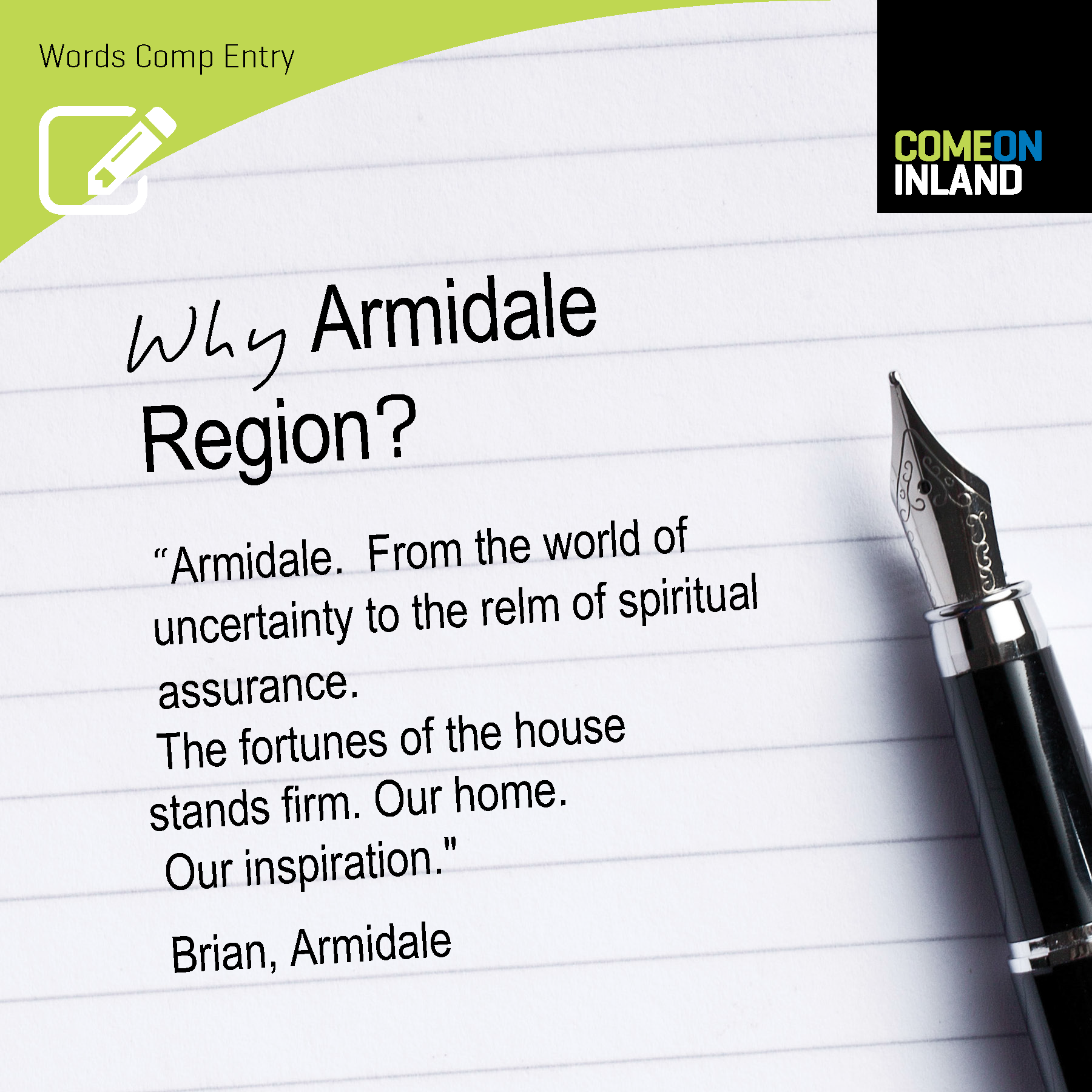 Armidale Words Competition entry from Brian