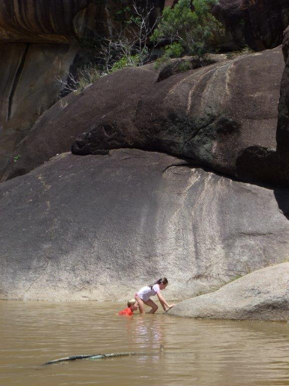 Carl took the kids to Cranky Rock to keep them happy on a hot spring afternoon! — at Gwydir.
