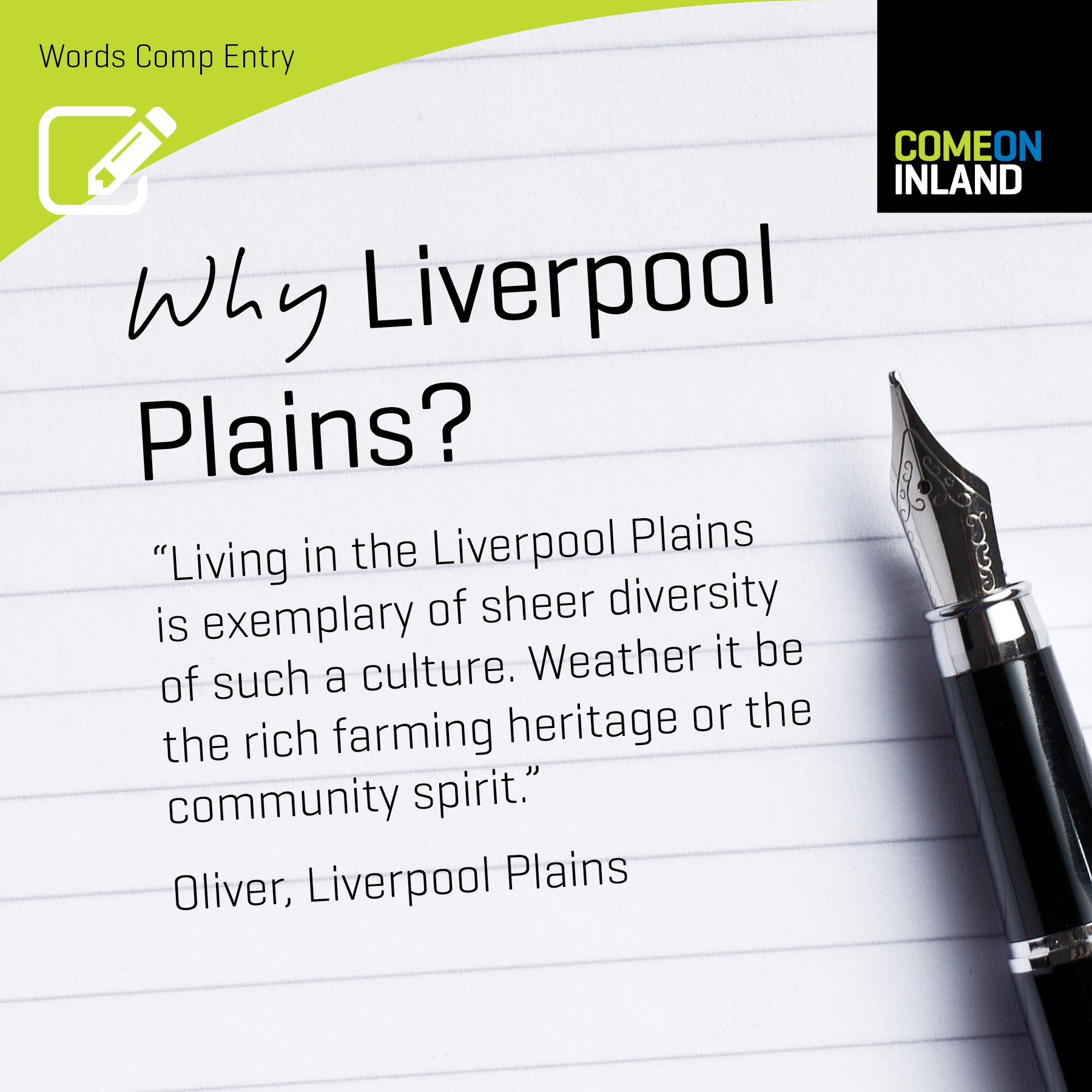 Liverpool Plains Words competition entry from Oliver