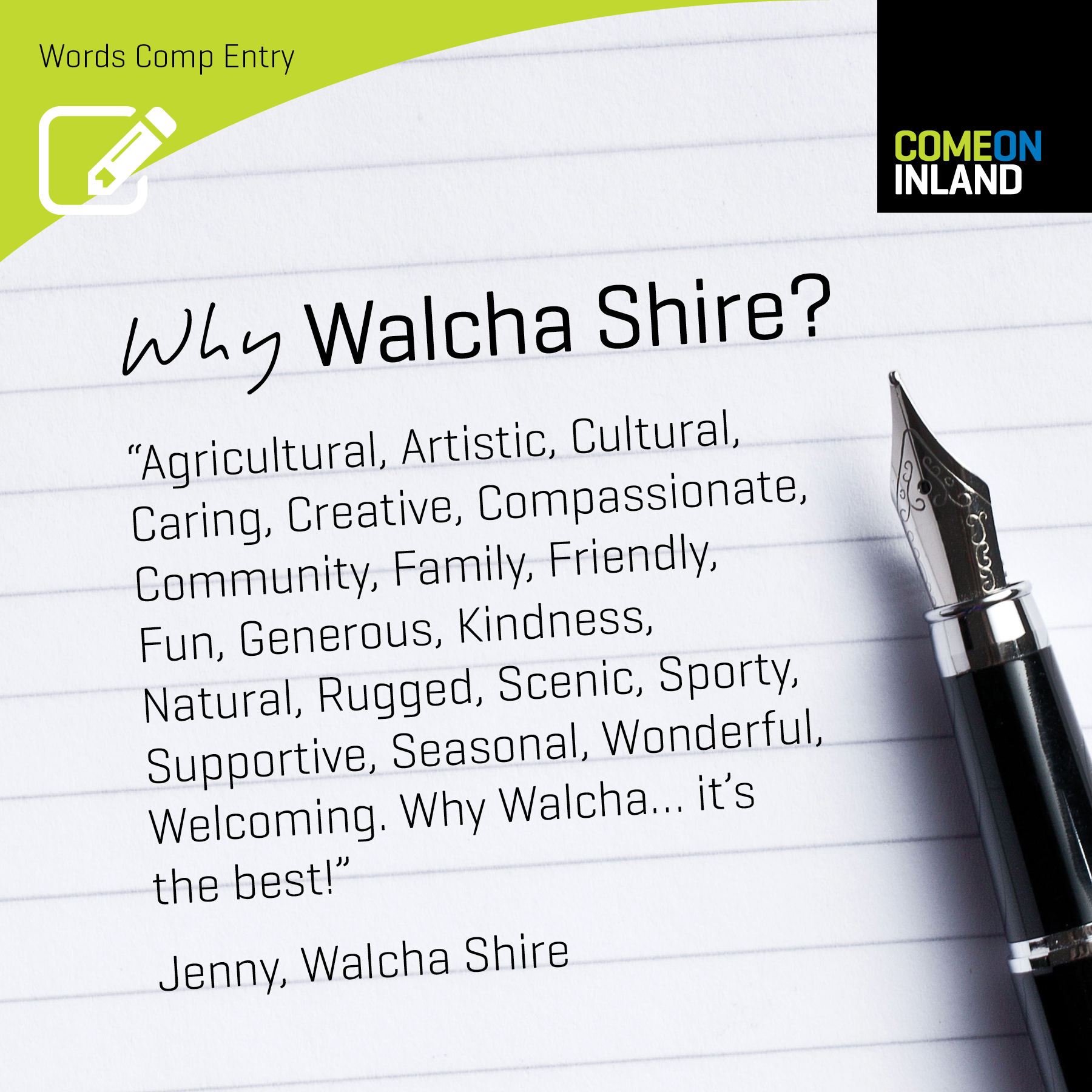Walcha Words Competition entry from Jenny