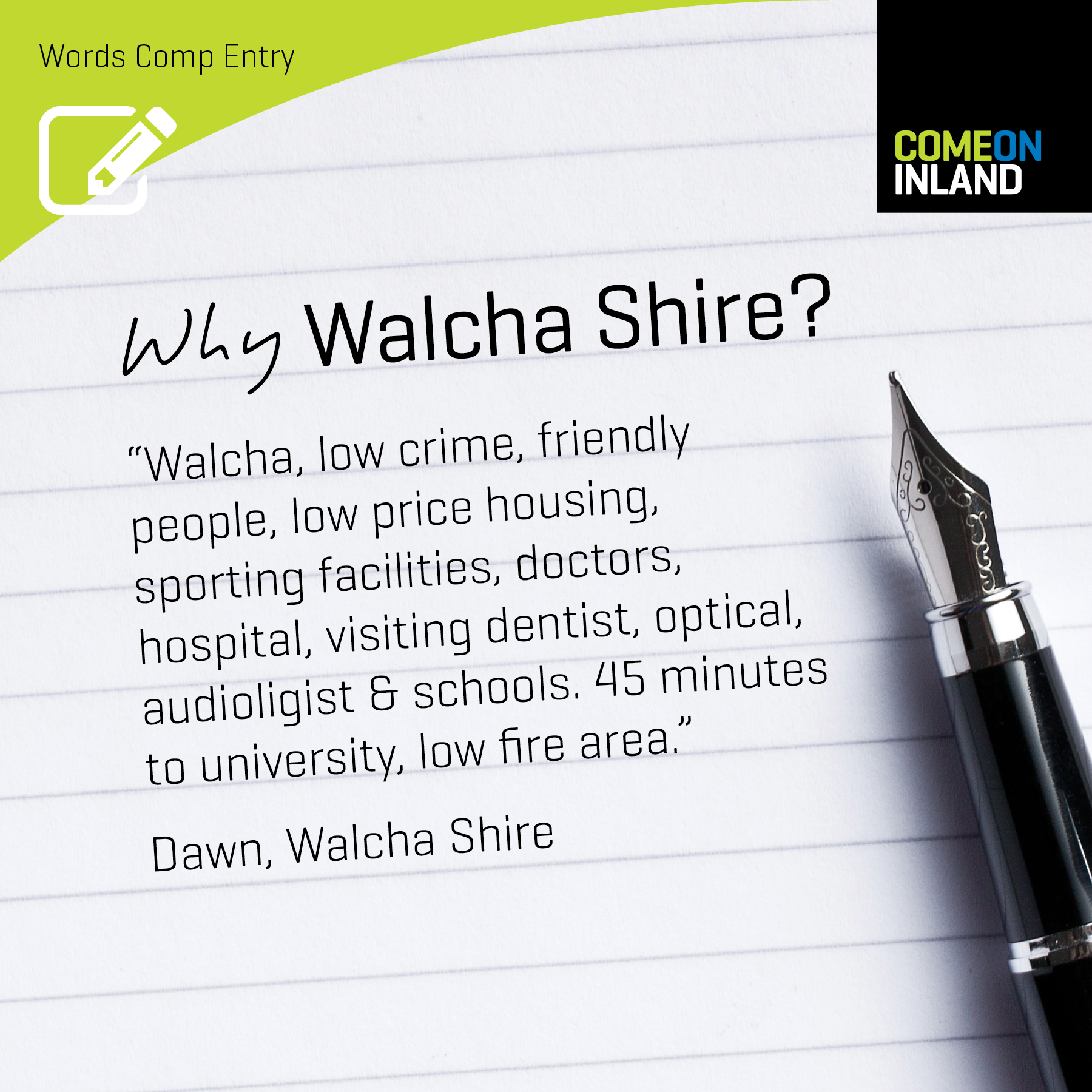 Walcha Words Competition entry from Dawn