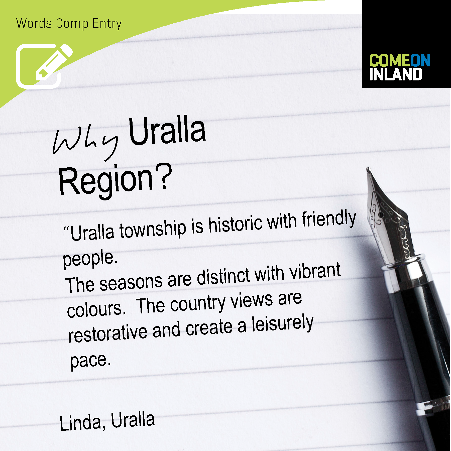 Uralla Words Competition entry from Linda